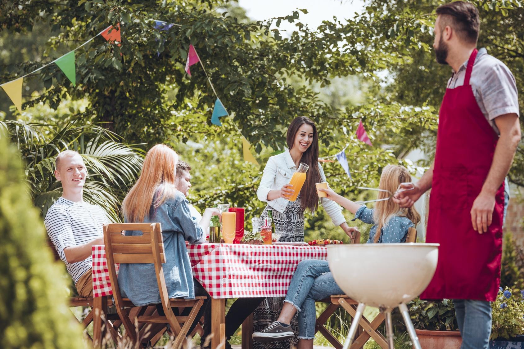 Friends partying in garden