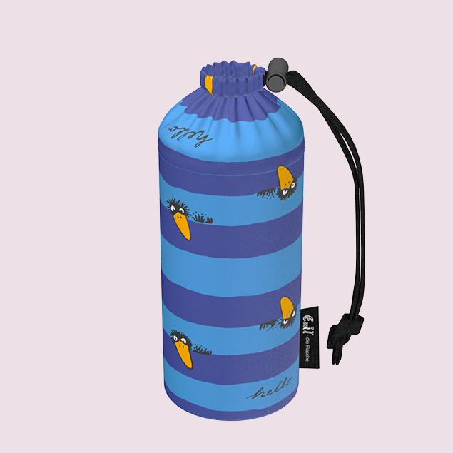 Flaschenbeutel - Rabe blau