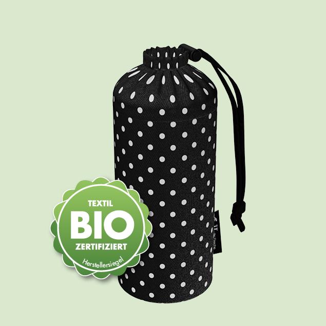 Flaschenbeutel - BIO-Punkte Schwarz