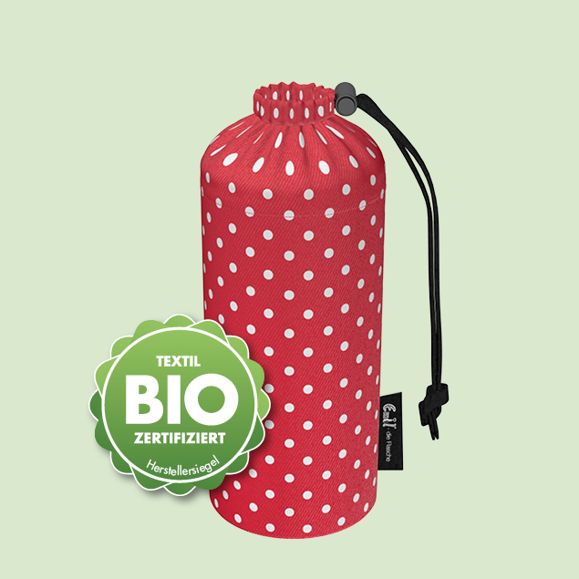 Flaschenbeutel - BIO-Punkte Rot